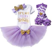 Baby Girls Half 1st 2nd Birthday Outfits Cake Smash Dress Romper+Tulle Tutu Skirt+Sequin Bow Headband+Leg Warmer Clothes Set