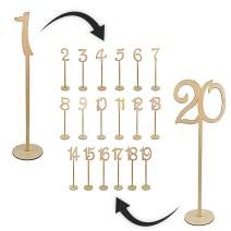 Jollyloves 1-20 Wedding Table Numbers with Thick Sturdy Holder Base - Wooden Table Numbers Set Perfect for Rustic Receptions, Banquets, Cafés, Restaurants, Hotels, Parties
