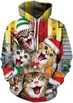 Chaos World Men's Novelty Hoodie Christmas Realistic 3D Print Hooded Sweatshirt Unisex Pullover