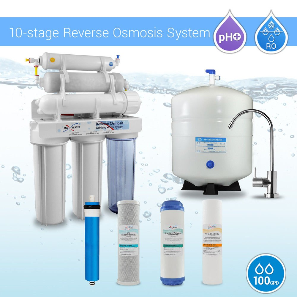 Max Water 10 Stage Mixed Housing Reverse Osmosis System/Reverse Osmosis System/RO Water Filtration System Under Sink RO Water Purifier 100 GPD PH 5-1 Alkaline Water Filter CP M Faucet