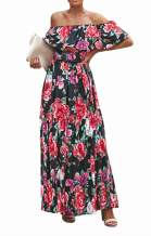 MIDOSOO Womens Side Slit Off Shoulder Ruffled Long Printed Foral Maxi Dress with Pockets
