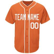Pullonsy Orange Custom Baseball Jersey for Men Women Youth Replica Sitched Team Player Name & Numbers S-8XL - Design Your Own