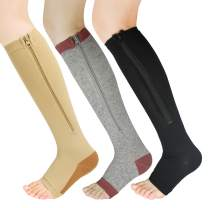 3 Pairs Zipper Compression Socks Women with Open Toe Toeless Support Stockings Easy on Knee High Socks