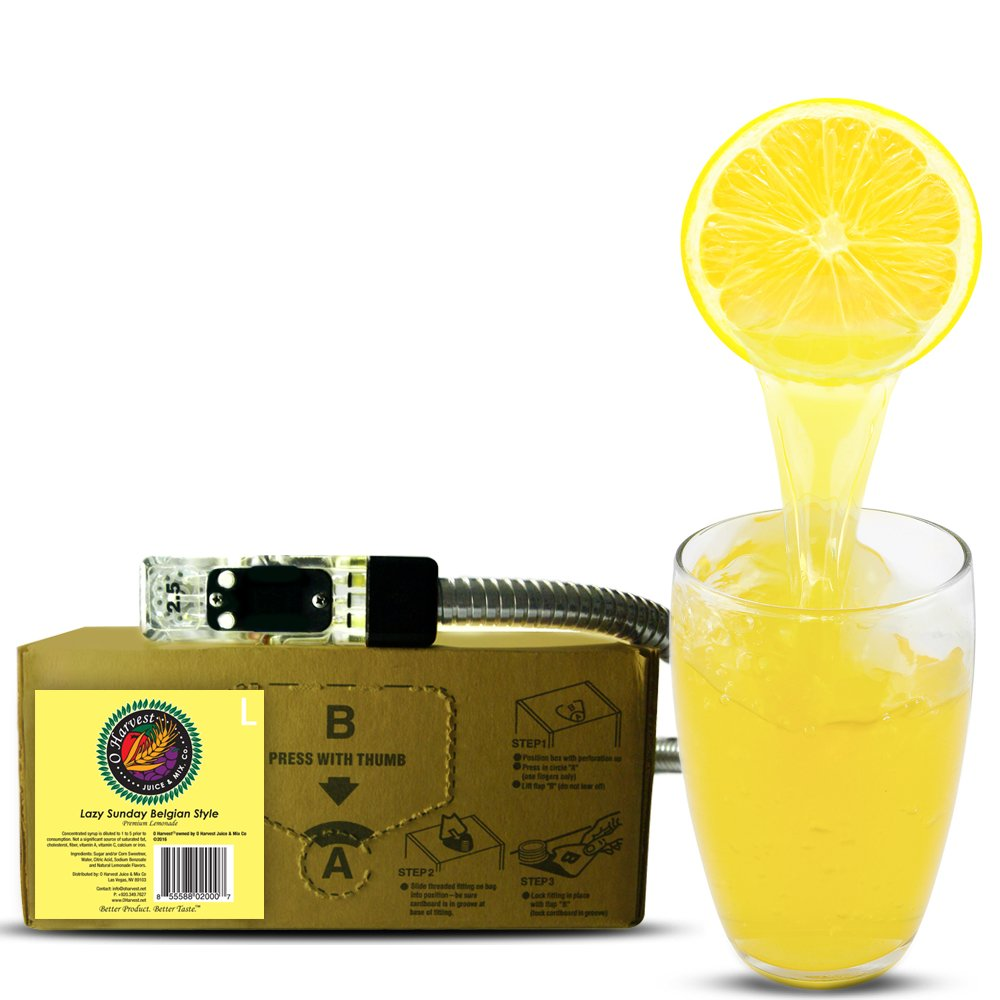 Bar Beverages Lazy Sunday Craft Lemonade (3 Gallon Bag-in-Box Syrup Concentrate) - Box Pours 18 Gallons of Lemonade - Use with Bar Gun, Soda Fountain or SodaStream