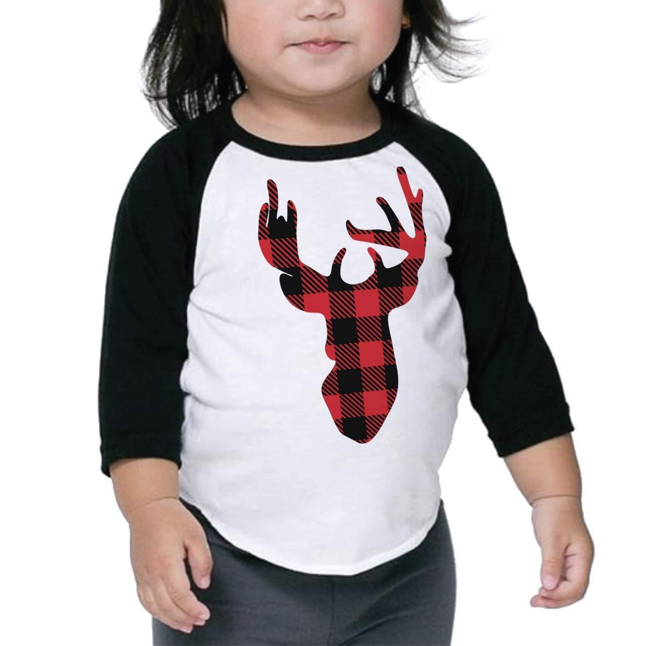 Bump and Beyond Designs Toddler and Kids Buffalo Plaid Reindeer Christmas Shirt Boy and Girl 3/4 Sleeve Holiday Raglan
