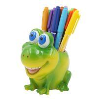 Exquisite Cute Resin Animal Pen Pencil Holder Storage Box Desk Organizer Accessories (Frog)