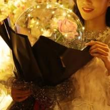 toyuugo LED Light Transparent Balloon with Rose Flower Bouquet LED Luminous Bobo Ball Rose Bouquet Wedding Birthday Party Celebration Decoration,Gift for Valentine's Day Girl's Birthday