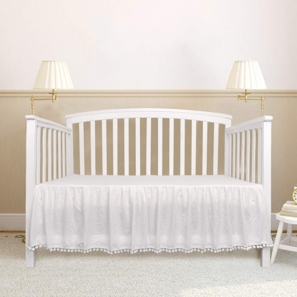 """LOAOL Baby Crib Skirt Nursery Crib Toddler Bedding Skirts Ruffle with White Lovely Pompoms 14"""" Drop (White)"""
