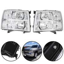 Compatible For Chevy Silverado Chrome Housing Amber Corner Headlight Replacement Lamp 07-14