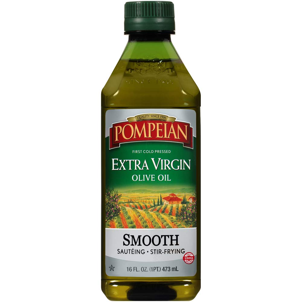 Pompeian Smooth Extra Virgin Olive Oil, First Cold Pressed, Mild and Delicate Flavor, Perfect for Sauteing and Stir-Frying, Naturally Gluten Free, Non-Allergenic, Non-GMO, 16 FL. OZ., Single Bottle