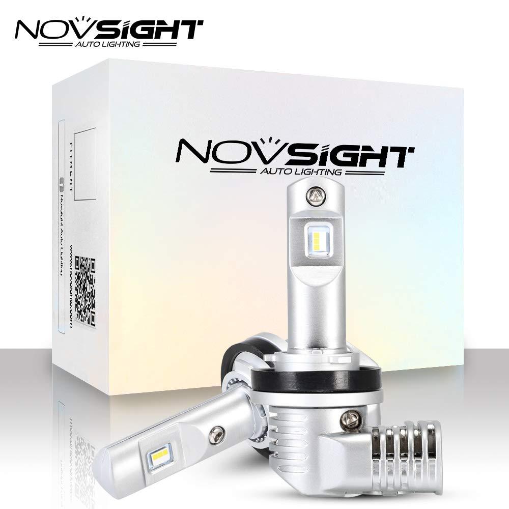 NOVSIGHT H11 H9 H8 LED Headlight Bulbs All in one Conversion Kit 10000LM 6500K 50W Super Bright Xenon White -Adjustable Beam Headlamp -2 Year Warranty