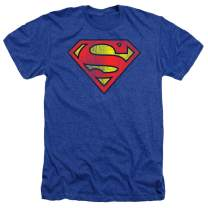 Superman Classic Logo Distressed Heather T-Shirt & Stickers