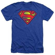 Superman Classic Logo Distressed Heather T-Shirt & Stickers