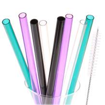 """Dakoufish 9"""" Wide Mouth Reusable Plastic Replacement Drinking Straws for Milkshake,Smoothie Set of 8 with Cleaning Brush(9inch,4color)"""