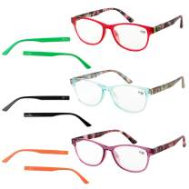 Reading Glasses Women, 3 Pack Fashion Readers with Interchangeable Temples