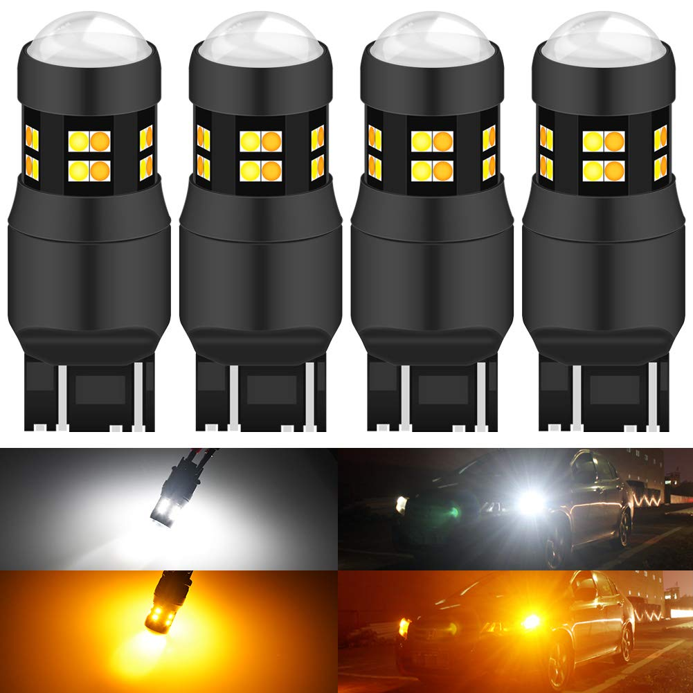 KATUR 7443 7444NA 7440 7440NA 992 Switchback LED Bulbs White/Yellow High Power Extremely Bright 3030 Chipsets with Projector for Turn Signal Lights and Daytime Running Lights/DRL (Pack of 4)