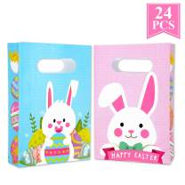 Easter Paper Bags for Kids - Friday Night Rabbit Party Candy Bags with Handled for Birthday Party, Baby Shower Party, Wedding Party (24Pcs)