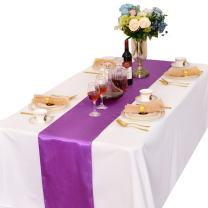 LOVWY Pack of 10 Satin Table Runners 12 x 108 Inches for Wedding Party Engagement Event Birthday Graduation Banquet Decoration (Colors Optional) (Lavender)