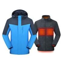 Venustas [2019 New Men's 3-in-1 Heated Jacket with Battery Pack, Ski Jacket Winter Jacket with Removable Hood Waterproof
