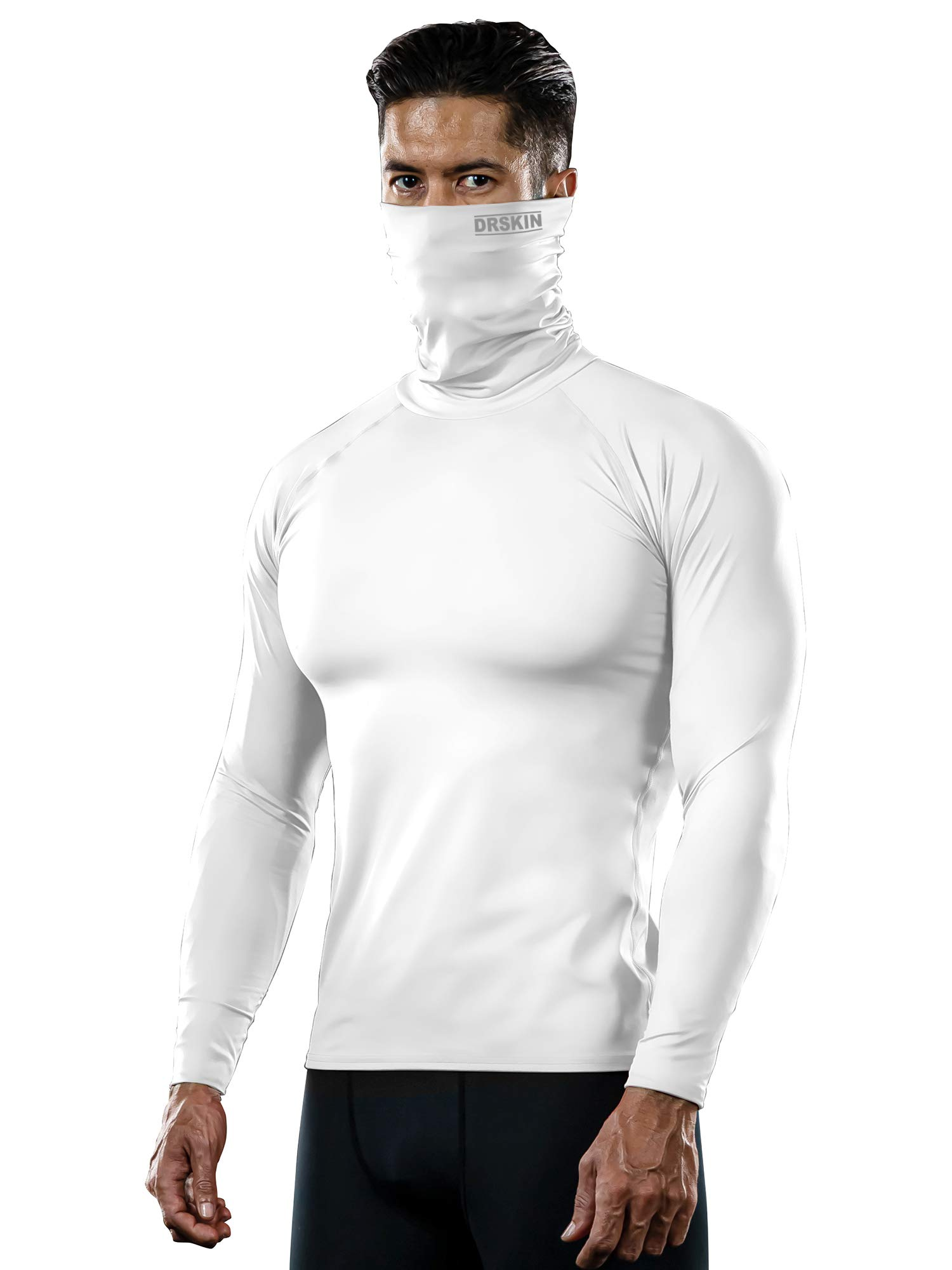 DRSKIN MASK Shirts Turtleneck Compression Top Cool Dry Sports Shirt Baselayer Running Long Sleeve Men