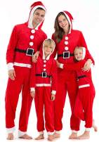Hsctek Matching Christmas Microfleece Onesies with Hoodie for Family, Santa Claus