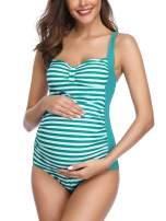 Summer Mae Striped Maternity One Piece Swimsuit Vintage Tummy Control Swimwear