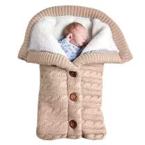Newborn Baby Swaddle Blanket, Baby Kids Toddler Knit Soft Warm Fleece Blanket Swaddle Sleeping Bag Stroller Unisex Wrap for Boys Girls (Beige)