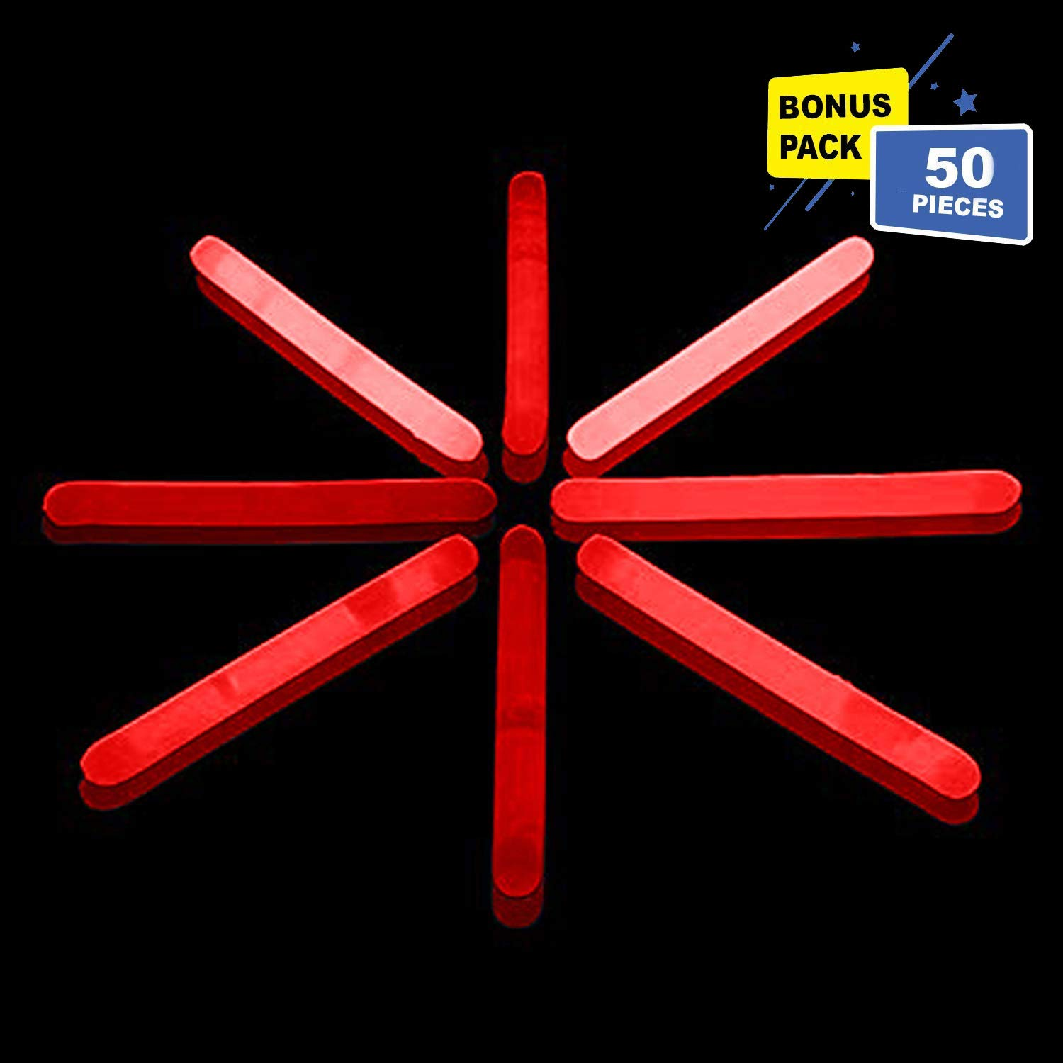 Lumistick 1.5 Inch Fishing Glow Sticks | Bright Color Snap Lights Glowsticks | Neon Mini Light for Swimming | Glow in The Dark Camping Night Party Favor Supplies (Red, 50 Glow Sticks)