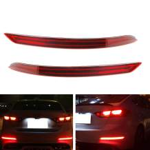iJDMTOY Red Lens Full LED Bumper Reflector Lights Compatible With 2017 2018 Hyundai Elantra Sedan, Function as Tail/Brake & Rear Fog Lamps
