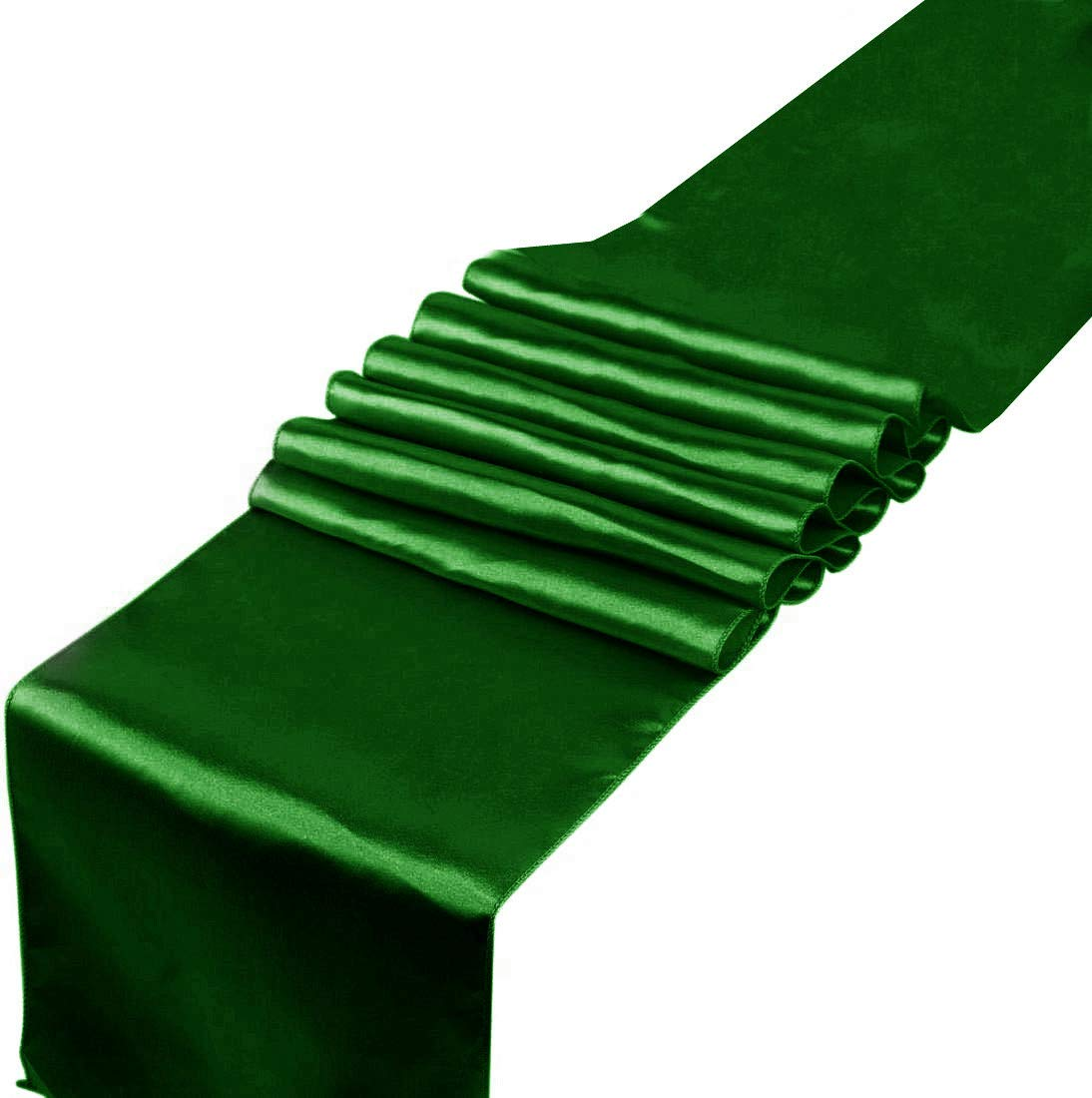 Spring Table Runner 12x108 Inches Long Green Satin Table Runners Pack of 10, for Wedding Reception Anniversary Birthday Party Meeting Events Meeting Supplies Table Decorations, Chair Sashes