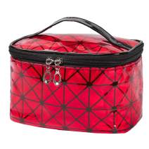 Brishow Travel Makeup Bag Portable Toiletry Bag Cosmetic Makeup Case Multifunction Pouch Waterproof Organizer Bag with Zipper for Women and Girls (Red)