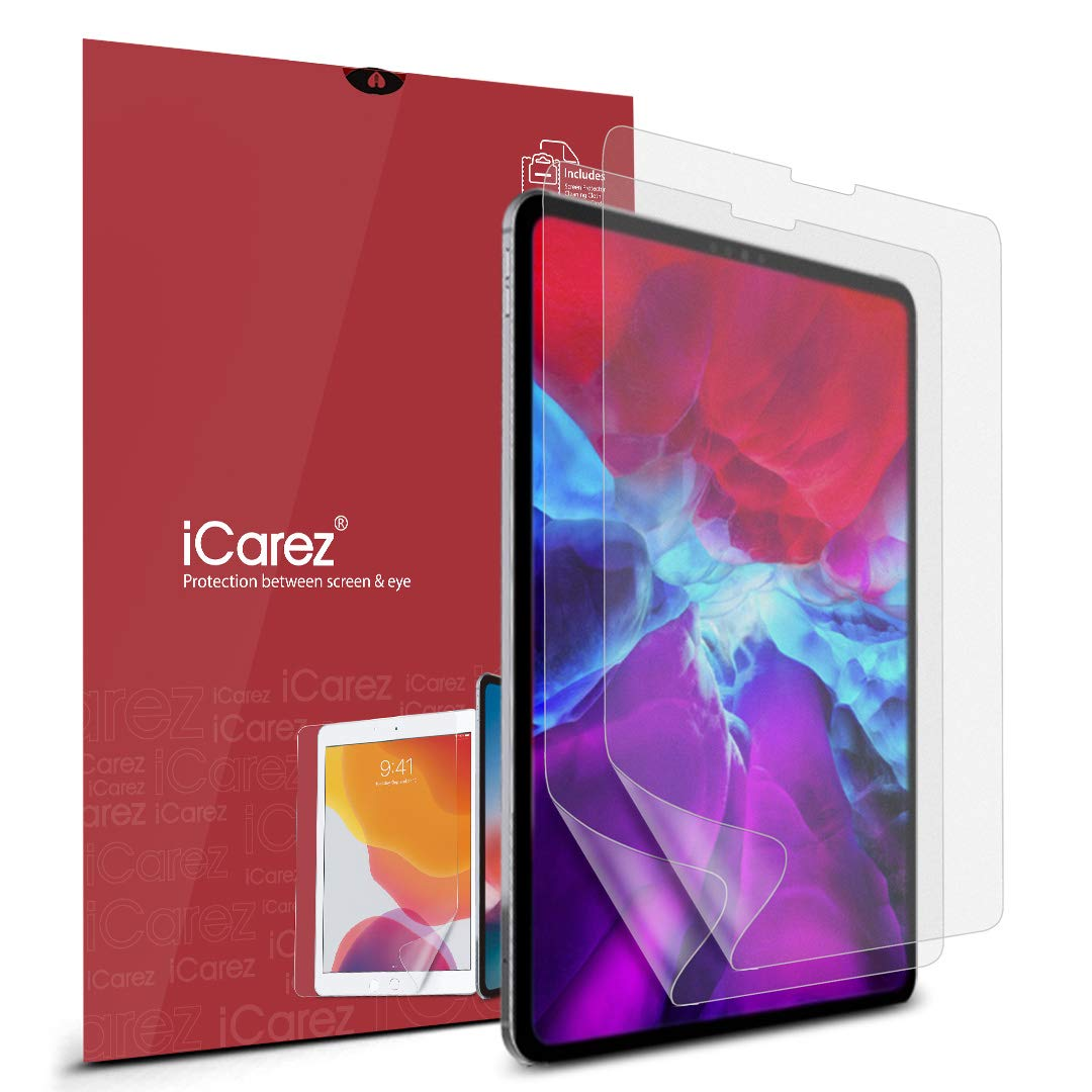 iCarez Anti-Glare Matte Screen Protector for Apple 12.9-inch iPad Pro 12.9 2020/2018 [2-Pack] Premium PET Film (Not Glass) Easy to Install (Compatible with Face ID)