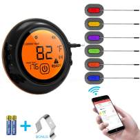 Wireless Meat Grill Thermometer Bluetooth Adapter for iOS&Android, Digital Wireless Thermometer Cooking Food with 6 Probes for Smokers,Kitchen Grilling,Oven and Outdoor BBQ (Black)