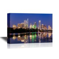 wall26 - USA City Skyline Canvas Wall Art - Beautiful Austin Skyline Reflection at Twilight, Texas - Gallery Wrap Modern Home Art | Ready to Hang - 24x36 inches