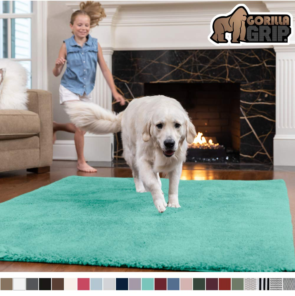 GORILLA GRIP Original Faux-Chinchilla Area Rug, 2x4 Feet, Super Soft and Cozy High Pile Washable Carpet, Modern Rugs for Floor, Luxury Shag Carpets for Home, Nursery, Bed and Living Room, Turquoise