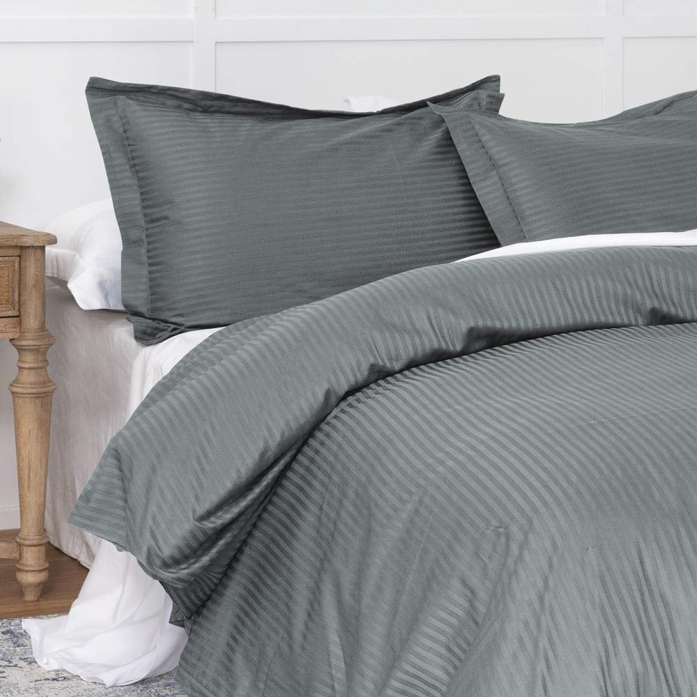 Duvet Cover Dark Grey Queen, Classic Damask Pinstripe Pattern, 100% Long Staple Cotton 400TC with Silky & luxury Sateen Woven, Cool & Breathable, Luxury Royal Hotel Style Clean Look Duvet Cover