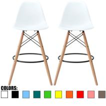 """2xhome - Set of Two (2) - White - 28"""" Seat Height Stool Style DSW Molded Plastic Bar Stool Modern Barstool Counter Stools with Backs and armless Natural Legs Wood Eiffel Legs"""