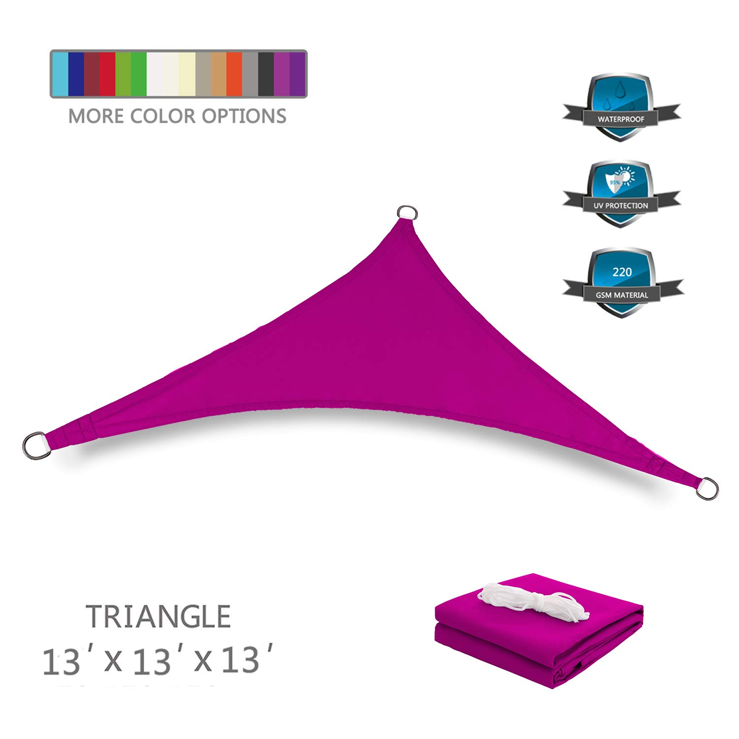 Tuosite Terylene Waterproof Sun Shade Sail UV Blocker Sunshade Patio Equilateral Triangle Knitted 220 GSM Block Fabric Pergola Carport Awning 13' x 13' x 13' in Color Rose Red