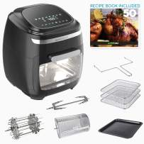 GoWISE USA GW77722 11.6-Quart Air Fryer Toaster Oven with Rotisserie & Dehydrator + 50 Recipes, Vibe, Black