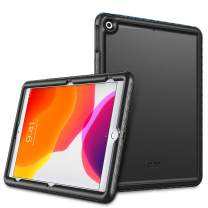 SITHON Kids Case for iPad 7th Generation/iPad 10.2 Inch 2019, Lightweight Shockproof Kids Friendly Anti Slip Rugged Silicone Back Cover with Protective Edge Coverage, Black