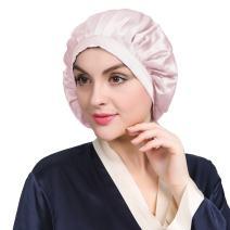 LilySilk Womens Silk Cap for Sleep Traceless Half Black Elastic 100 Real Mulberry Silk 19 Momme Flat Cap Sleeping for Hair Light Plum