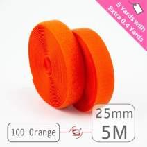 """25mm(1"""") Width 5 Pair Yards Sew-On Hook&Loop Fastener Tape for 12 Colors (#100 Orange)"""