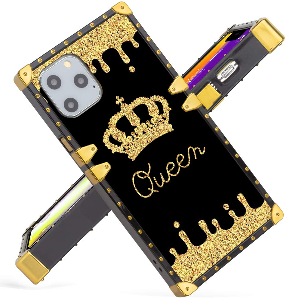 Fiyart iPhone 11 Pro MAX 6.5 Inch Case 2019 Release Luxury Gold Queen Square Soft TPU and Hard PC Back Stylish Retro Cover