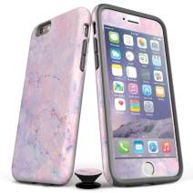 Screenflair- iPhone 7 Plus/8 Plus Accessory Bundle - Designer Drop Tested Glossy Protective Case - Shatterproof and Scratch Resistant Screen Protector - Phone Grip - Cotton Candy Marble Design