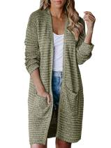 CCBSTS Womens Plus Size Long Sweaters Open Front Cardigans Lightweight Loose Knitwear Coats with Pockets