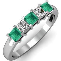 10K Gold Princess Cut Green Emerald & White Diamond Ladies 5 Stone Bridal Wedding Band Anniversary Ring