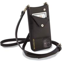 Bandolier Emma Crossbody Phone Case and Wallet - Black Leather with Gold Detail - Compatible with iPhone 11 Pro Only