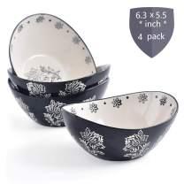 KINGSBULL HOMEBowls Ceramic Cereal BowlsPorcelain Bowl Set Bowls Microwave Safe Cereal Bowl of 4