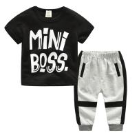 Kids Baby Little Boys Short Sleeve Mini Boss Tshirt Pants Outfits Clothes Set