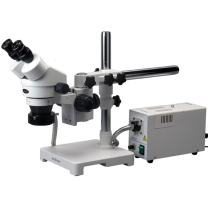 AmScope SM-3B-FOR Professional Binocular Stereo Zoom Microscope, WH10x Eyepieces, 7X-45X Magnification, 0.7X-4.5X Zoom Objective, Fiber-Optic Ring Light, Single-Arm Boom Stand, 110V-120V